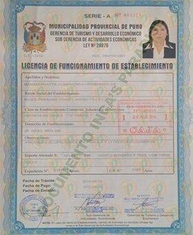 LICENCIA DE FUNCIONAMIENTO DE ESTABLECIMIENTO OTORGADO POR LA MUNICIPALIDAD PROVINCIAL DE PUNO