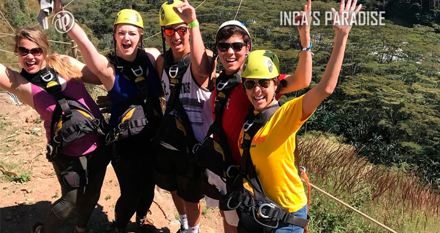 AVENTURA EN EL ZIP LINE DEL TOUR INCA JUNGLE TRAIL CUSCO
